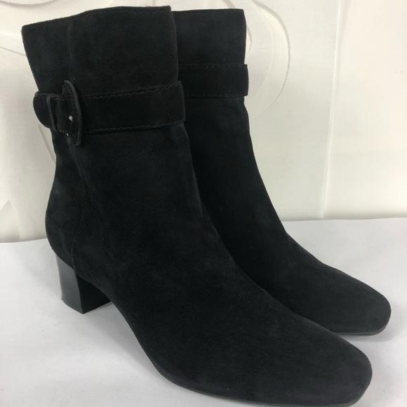 1fa00bd8cf0e Bandolino Shoes - Bandolino Black Suede Block Heeled Booties 8.5